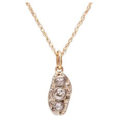 14 KT. Gold, Old European and Rose Cut Diamond Nugget Necklace