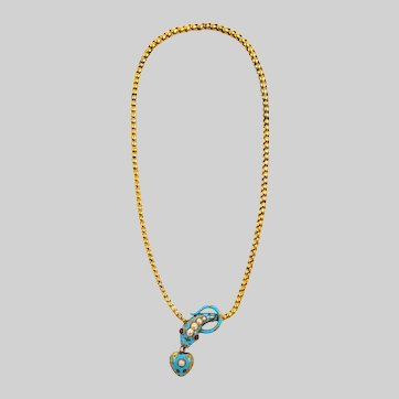 Victorian Serpent Necklace with Enamel Pearls and Rubies