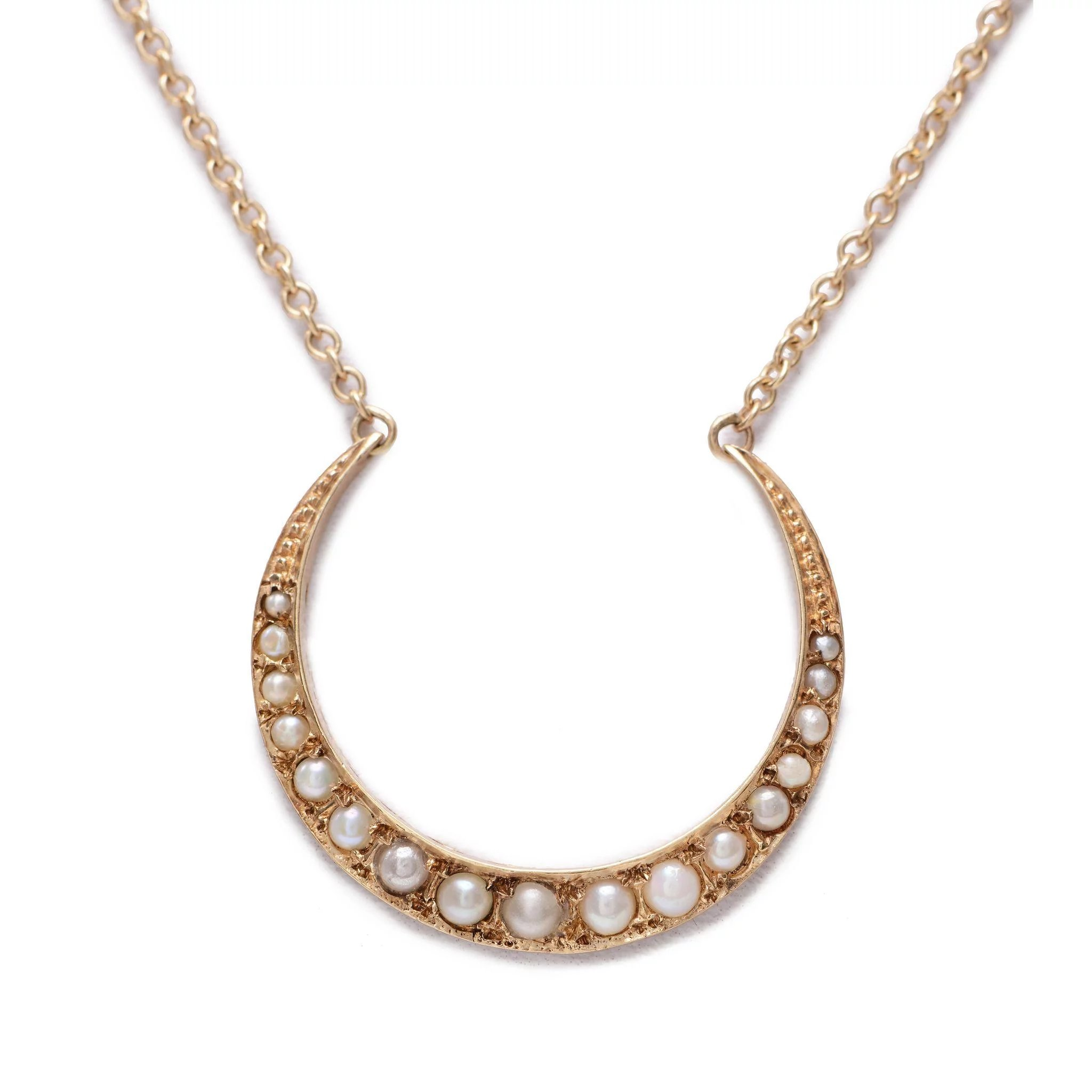 Yellow Gold Crescent And Seed Pearl Necklace Sweet