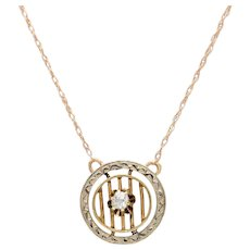 Edwardian 14 KT.Yellow Gold and Old European Diamond Circle Necklace