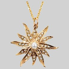 Antique Pearl Starburst Necklace
