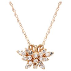 Diamond and 14 KT. Gold Butterfly Necklace