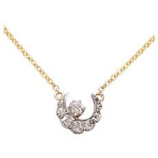 14 KT Gold & Diamond Crescent Necklace