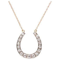 Old European Diamond Horseshoe Necklace set in 14 KT. Gold