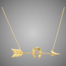 14 KT. Gold Arrow and Horseshoe Necklace