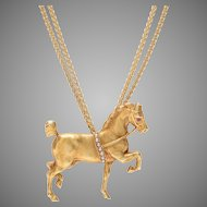 Lipizzan Horse Pendant Suspended from a Double Gold Chain