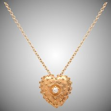 Antique Heart Necklace with Old Euro Diamond Center