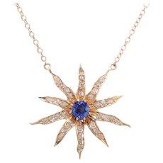 Diamond and Sapphire Starburst Necklace