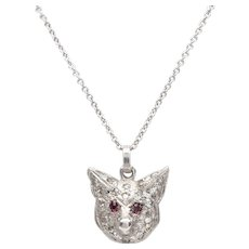 Platinum Diamond and Ruby Foxhead Necklace