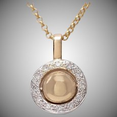 Rotating Orb in 14 KT. Gold and Diamond Necklace