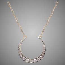 Crescent Necklace with Diamonds on a 14 KT. Adjustable Gold  Chain