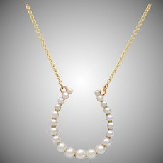 Seed Pearl and 14 KT Gold Horseshoe Necklace