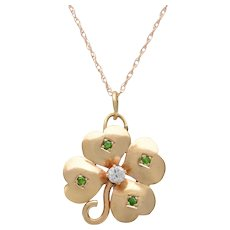 14 KT Gold Clover with Demantoid Garnets and Diamond Necklace