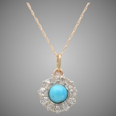 Natural Turquoise Cabochon and Old Euro Diamond Pendant / Necklace