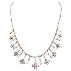 Antique Diamond and 14 KT Gold Fringe Necklace