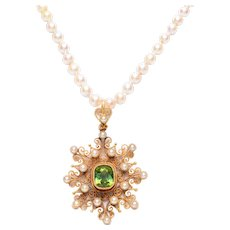 Antique Tourmaline and Pearl Canetille Pendant on a Pearl Necklace