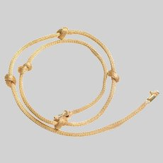 Elegant Knotted 18 KT Gold Solid Braid Necklace