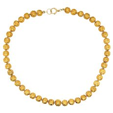Antique 18 KT Gold Ball Necklace