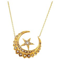 Antique Crescent and Star Necklace