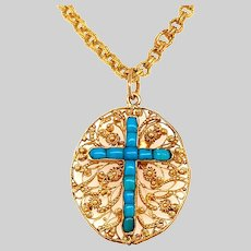 Antique 22 KT Pendant with Turquoise Cross Motif and Fancy Link Chain