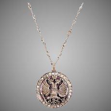 Guilloche Enamel and Diamond Eagle Pendant