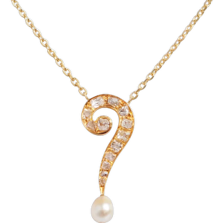 Antique Question Mark Diamond and Pearl Necklace