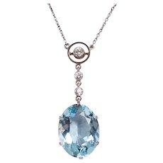 Edwardian 18 KT Aquamarine and Diamond Drop Necklace