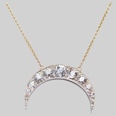 Antique Diamond Crescent on a Modern 14 KT Chain