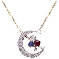 Antique Diamond Crescent with Sapphire and Ruby Detail Necklace