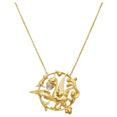 Antique 18 KT Gold and Diamond Griffin Necklace
