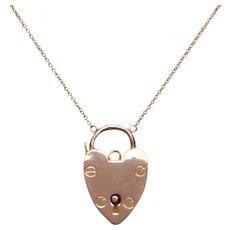 Vintage Polished 9 KT Gold Heart Padlock Necklace
