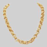 Exceptional Vintage 18KT Gold Braided Link Necklace