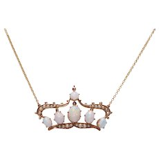 Antique Cabochon Opal and Pearl Coronet Necklace