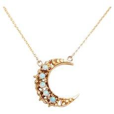 Antique Opal Crescent Necklace