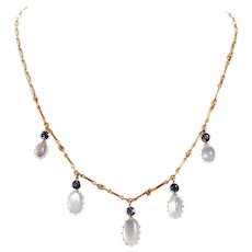 Antique Moonstone and Sapphire Fringe Necklace