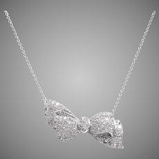 Diamond Asymmetric Bow Necklace