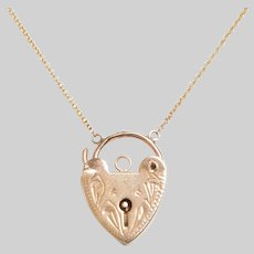 Vintage Engraved Heart Padlock Necklace