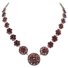 Antique Bohemian Garnet Cluster Choker / Necklace