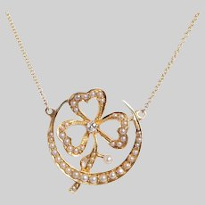 Seed Pearl and Diamond Crescent and Clover Necklace
