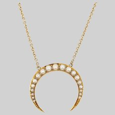 Antique Pearl and 15 KT Gold Crescent  Necklace
