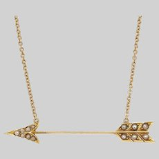 Antique 14 KT Gold and Pearl Arrow Necklace