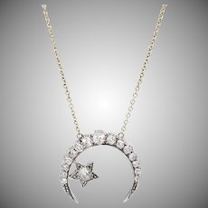 Diamond Crescent & Star Necklace