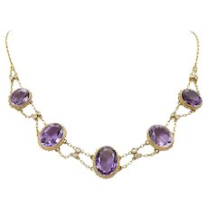Amethyst and Diamond Collet Necklace