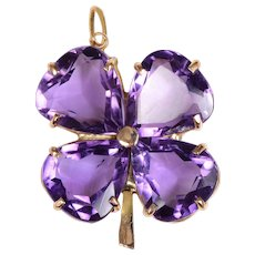 14 KT. Yellow Gold and  Amethyst Clover Necklace / Pendant