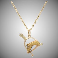 18 KT. Yellow Gold Horse and Spur Charm / Pendant
