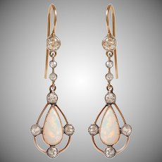 Antique Opal and Diamond Drop Earrings set in 9 KT. Gold