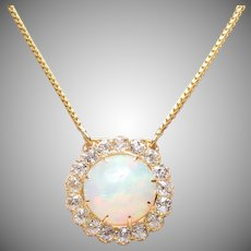 Opal and Old Euro Diamond Cluster Necklace