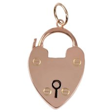 Antique 9 KT Polished Rose Gold Padlock Charm / Pendant