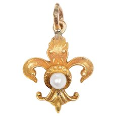 14 KT. Yellow Gold and Seed Pearl Fleur de Lys Pendant