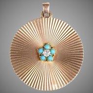 9 KT. Yellow Gold Diamond and Turquoise Medallion Pendant/Fabulous 1960's Medallion